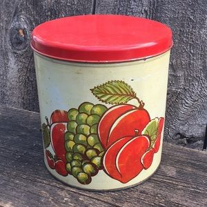 VTG Kitchen Canister with Fruit Graphic